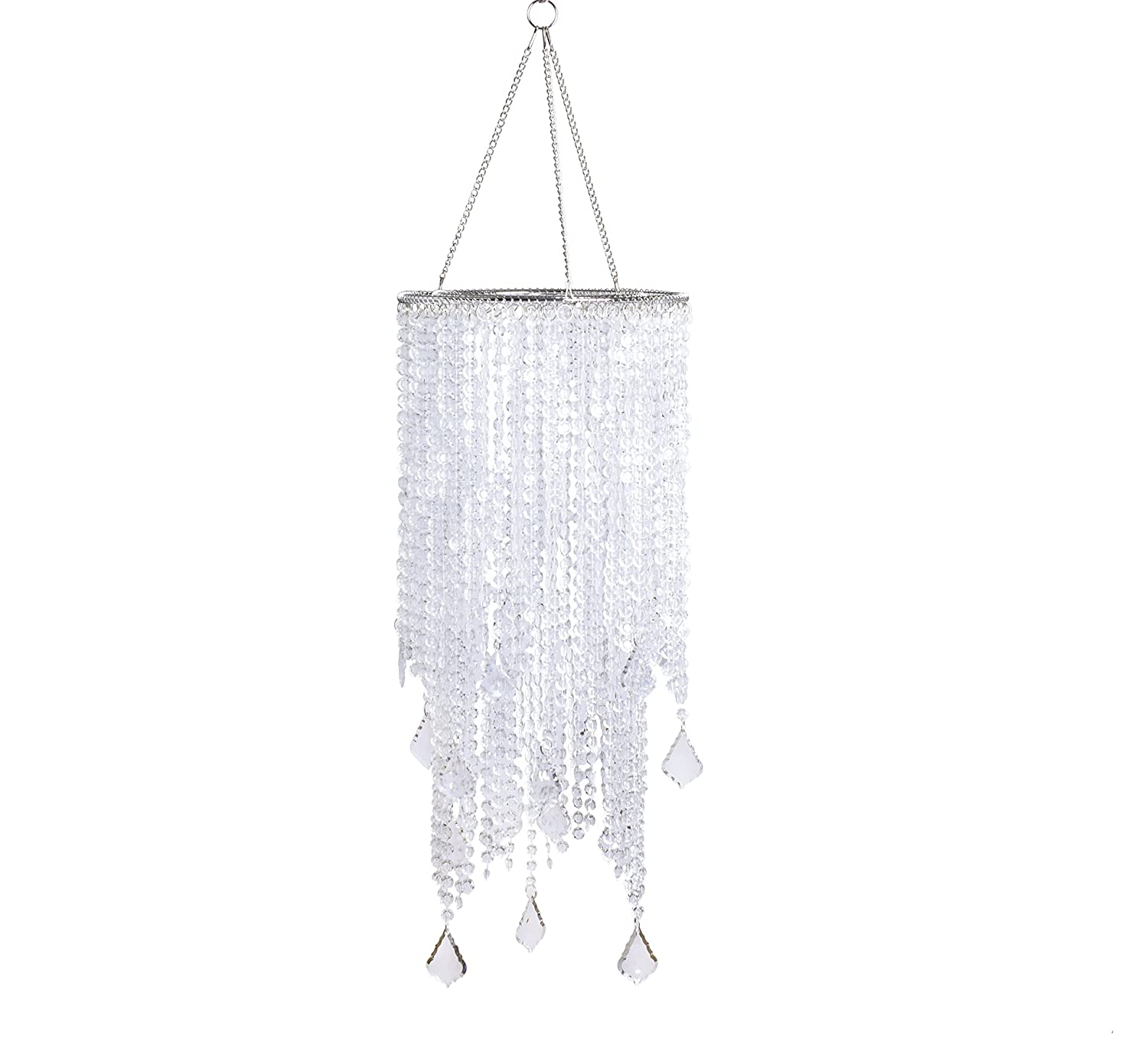 "FlavorThings 2 Tiers 20.5"" Tall Clear Beaded Hanging Chandelier,Great idea for Wedding Chandeliers Centerpieces Decorations and Any Event Party Home Decor (Clear Non-Iridescent)"
