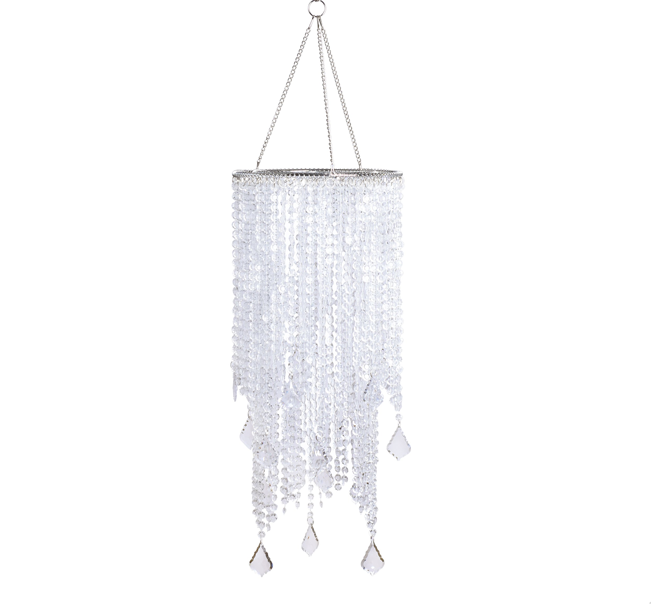 FlavorThings 2 Tiers 20.5'' Tall Clear Beaded Hanging Chandelier,Great idea for Wedding Chandeliers Centerpieces Decorations and Any Event Party Decor (Clear)