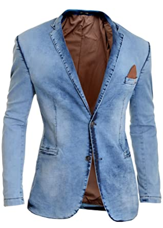 3b4ac225fb0f D&R Fashion Men's Denim Blazer Casual Washed Out Look Slim Fit Soft Jacket  Cotton Red Finish