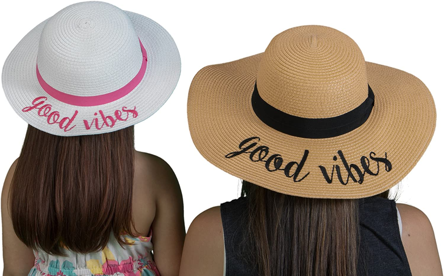 Funky Junque Womens Girls Mother Daughter Sun Hat Set Embroidered Beach Floppy