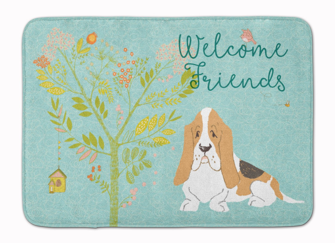 Carolines Treasures Welcome Friends Basset Hound Floor Mat 19hx27w Multicolor