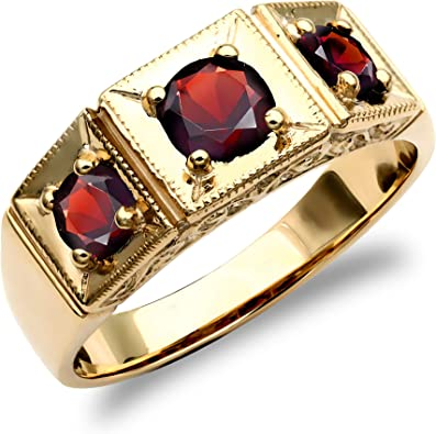 Jewelco London Mens Solid 9ct Yellow Gold Round Brilliant Garnet 3 Stone Trilogy Carved Gypsy Ring Size