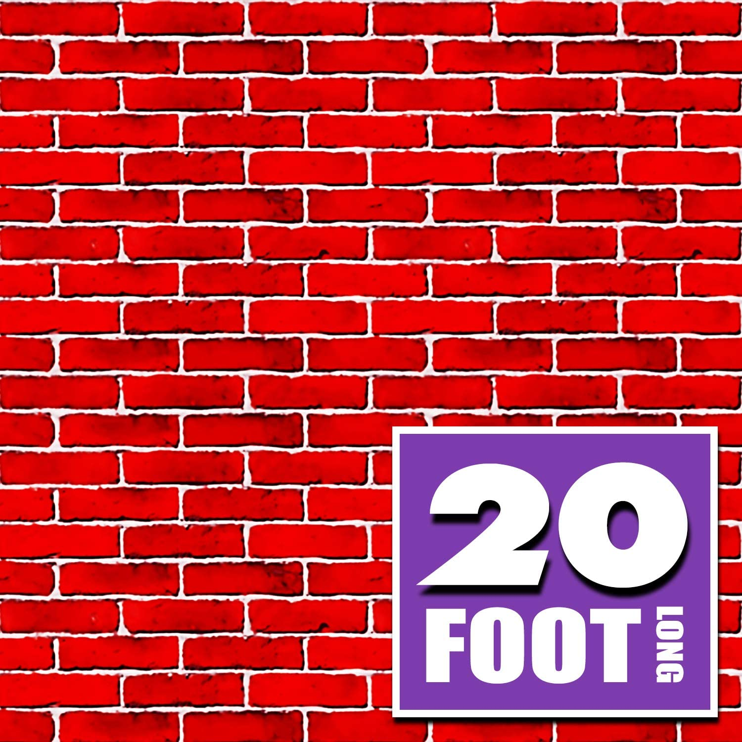 Red Brick Wall Party Backdrop | 4 Foot x 20 Foot | Party Supplies Decoration | Background for Holiday Decoration (4' x 20')