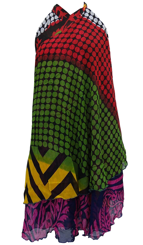 Sarong Boho Kleid Georgette Magie Wrap Reversible Halter Rock