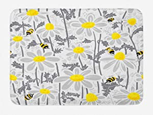 Ambesonne Grey Bath Mat, Daisy Flowers Bees in Spring Time Honey Petals Floret Nature Purity Blooming, Plush Bathroom Decor Mat with Non Slip Backing, 29.5