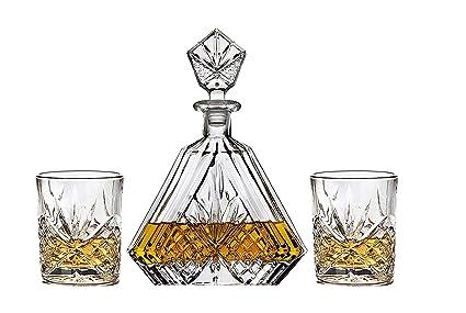 Irish Cut Whiskey Decanter set for Liquor Scotch Bourbon or Wine Includes 2 DOF whisky glasses