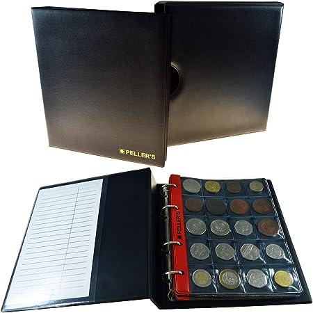 PELLERS Álbum de colección M, para 186 Monedas de tamaño Mix: Grande, Muy Grande, Mediano y pequeño, 10 Fundas y cartulinas separadoras. (Modelo M con Cajetin): Amazon.es: Hogar