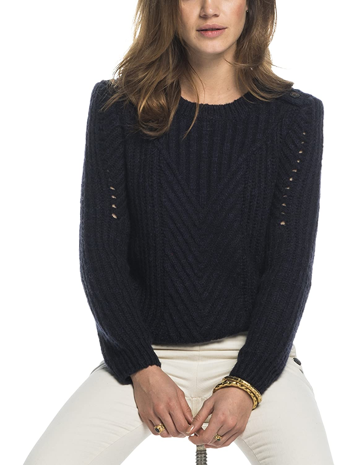 Maison Scotch Damen Pullover Crew Neck Cable Knit with Button Detail On the Shoulder