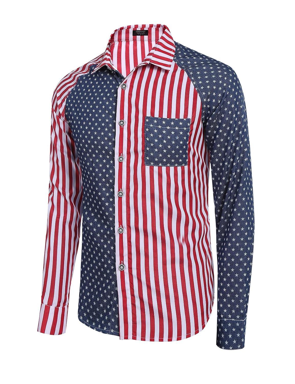 Simbama Mens American Usa Flag Cotton Shirts Patriotic Casual Long