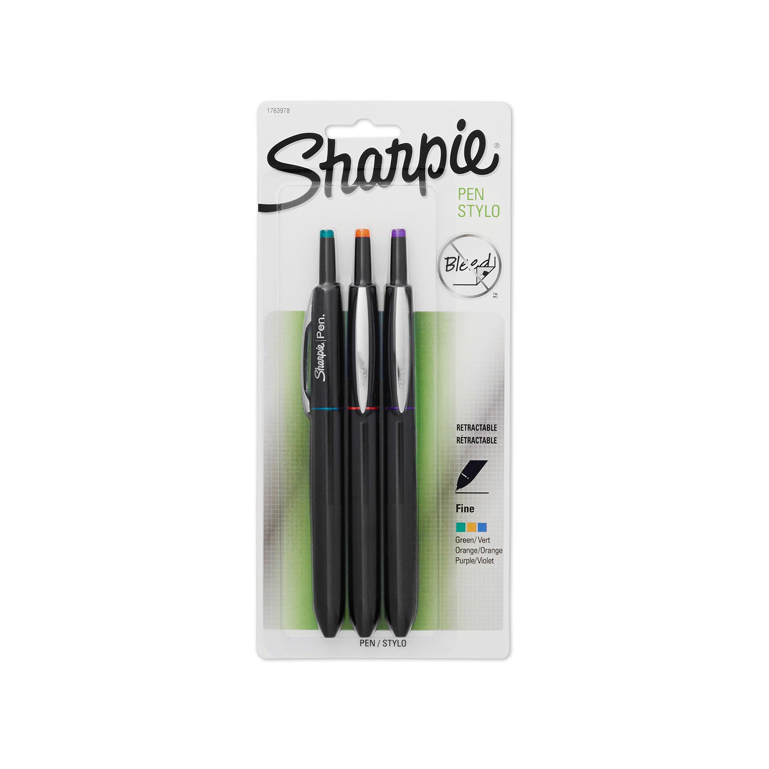 Sharpie 1763978 Retractable Fine-Point Pen, Assorted Colors, 3-Pack