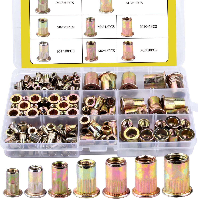 Threaded Insert Nutsert M3 4 5 6 8 10 12 BONROB 170pcs Mixed Zinc Plated Carbon Steel Rivet Nuts