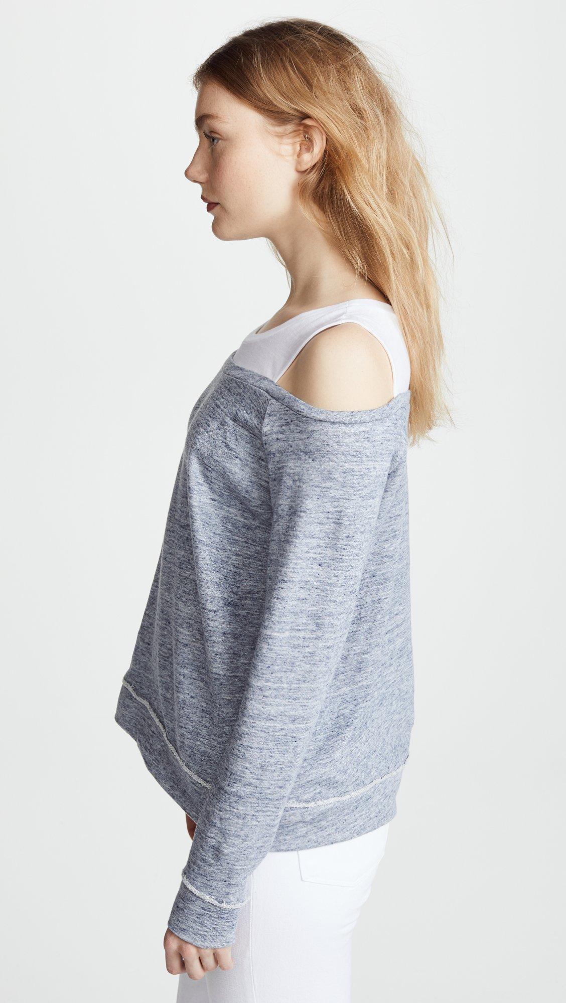 Generation Love Women's Roni Double Layered Sweatshirt, Heather Blue, Small by Generation Love (Image #4)