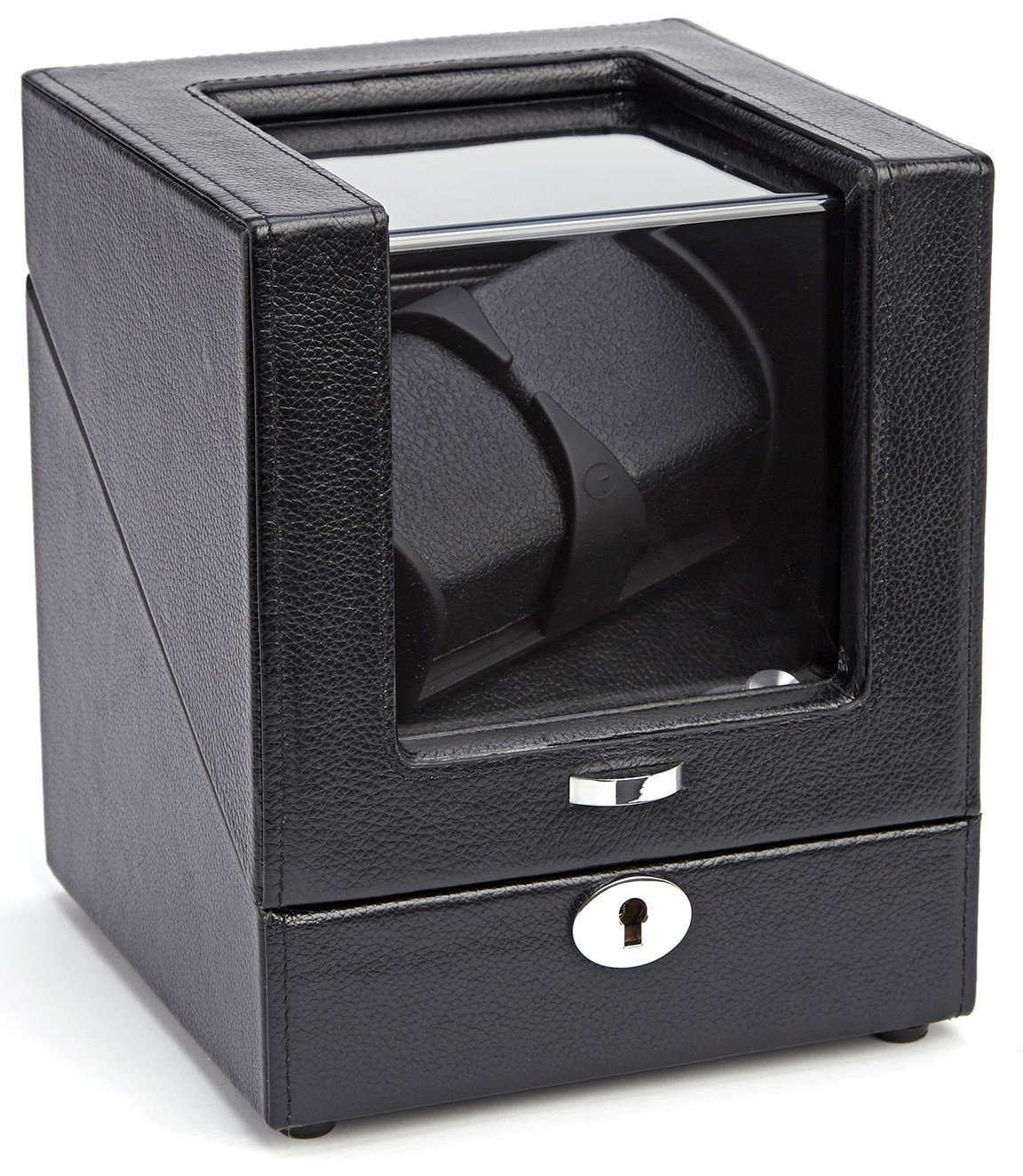 ROYCE Luxury Battery Powered Double Watch Winder Handemade in Genuine Pebbled Leather - Black