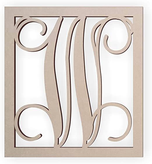 Monogram Alphabet Letter Plaque Small V Gold Wooden Wall Art Hanging