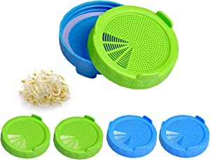 Plastic Jar Sprouting Lid Akamino Jar Strainer Lids for Wide Mouth Mason Jars Grow Bean Sprouts Blue and Green- 6 Pack