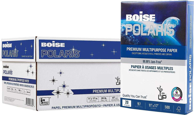 "BOISE POLARIS Premium Multipurpose Copy Paper, 11"" x 17"" Ledger, 97 Bright White, 20 lb., 5 Ream Carton (2,500 Sheets)"