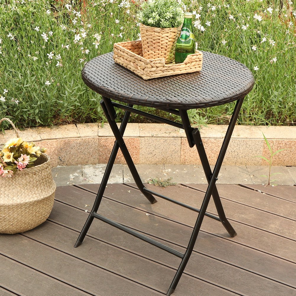 PHI VILLA 24'' Outdoor Resin Rattan Wicker Folding Table Patio Porch Bistro Dining Table by PHI VILLA