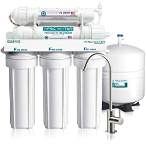 APEC Water Systems Essence ROES-UV75 Top Tier UV Violet Sterilizer 6 Stage Ultra Safe Reverse Osmosis Drinking Water Filter System, 75 GPD