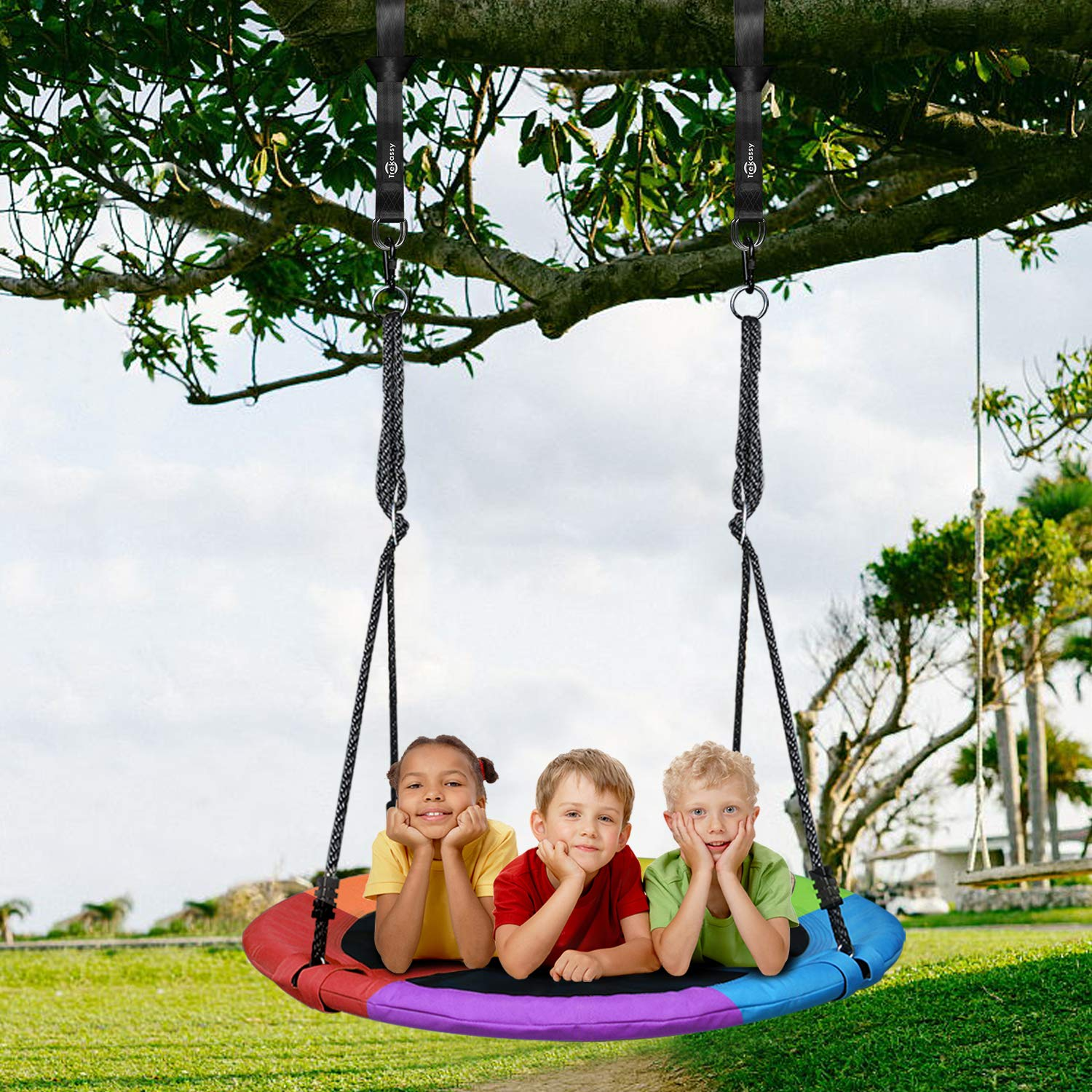 Trekassy 700 lb Saucer Tree Swing for Kids Adults 40 Inch 900D Oxford Waterproof Frame with 2 Hanging Straps - Rainbow by Trekassy (Image #7)