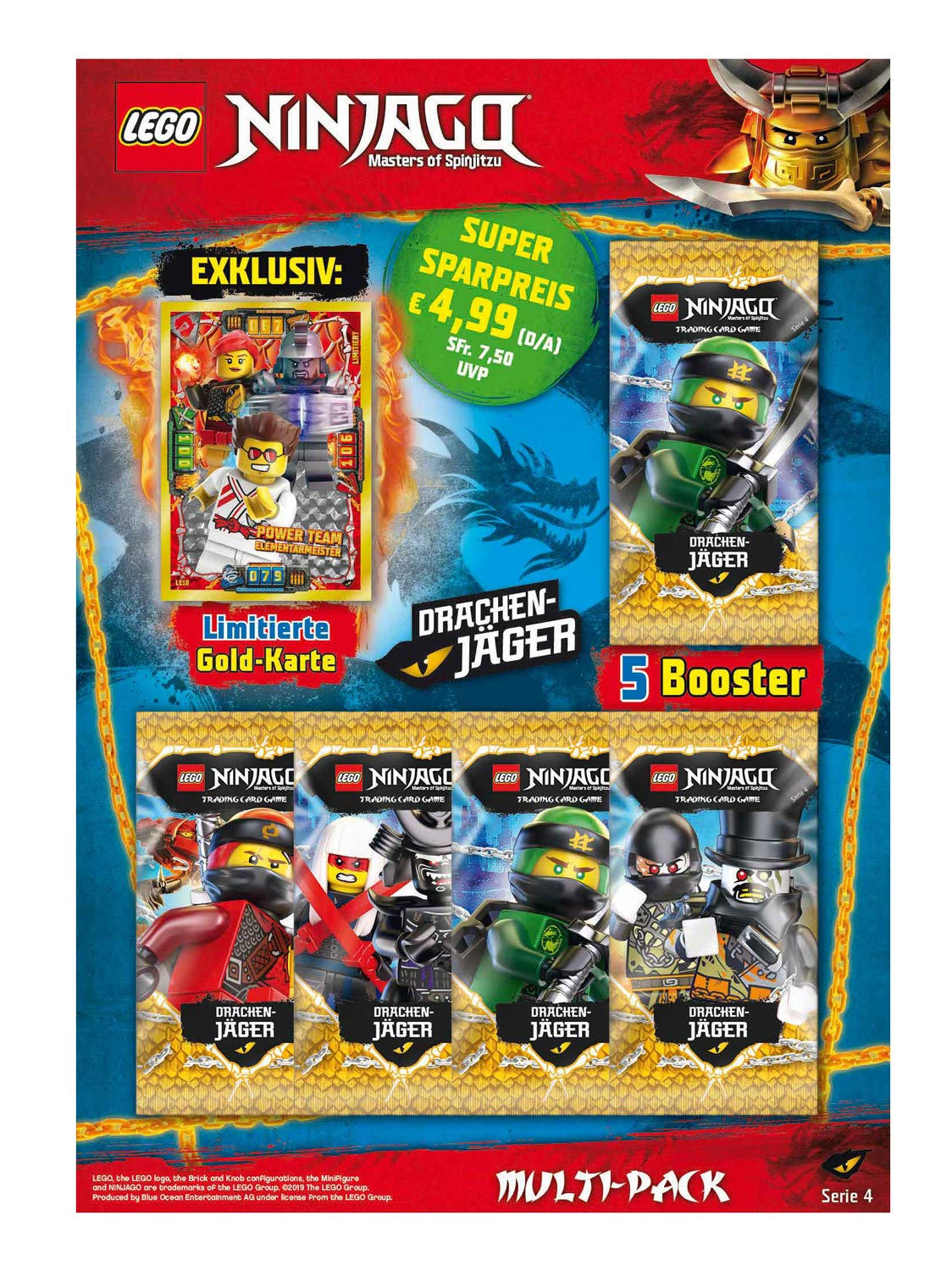 Top Media 180323 Lego Ninjago Series IV Multipack 5 Boosters and Limited Gold Card Multi-Coloured