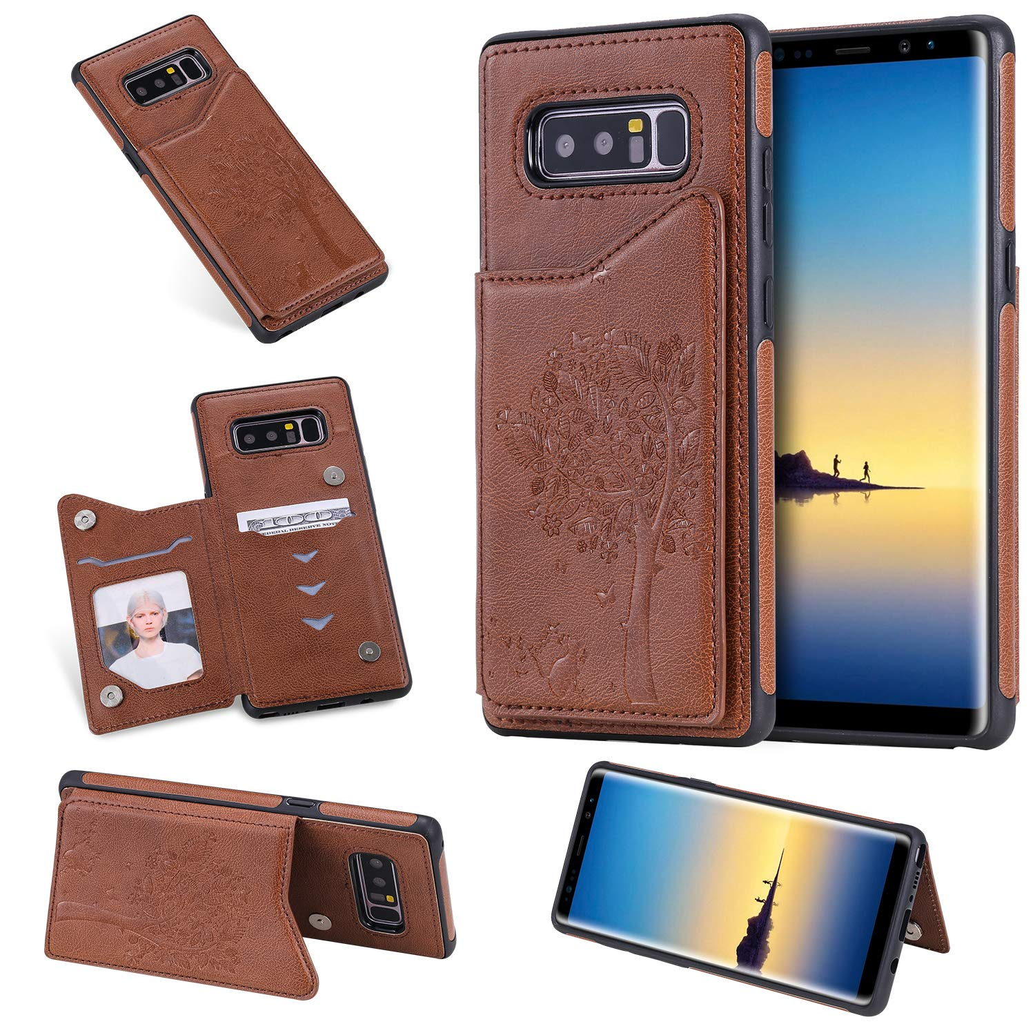 DAMONDY Wallet Case for Galaxy Note 8,Emboss Tree Cat Slim Protective Case with Credit Card Slot Holder Flip Folio Soft PU Leather Magnetic Closure Cover Case for Samsung Galaxy Note 8-Brown by DAMONDY