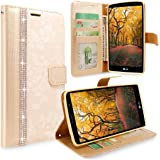 LG G4 Case, G4 Case, Cellularvilla [Stand Feature] Flower Texture Wallet Case [Diamond Jewel] Premium [Bling Luxury] PU Leather Flip Cover [Card Slots] For LG G4 (Golden Bling)