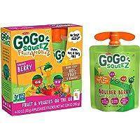 GoGo squeeZ fruit & veggieZ, Apple Carrot Mixed Berry, 3.2 Ounce (4 Pouches), Gluten Free, Vegan Friendly, Unsweetened, Recloseable, BPA Free Pouches
