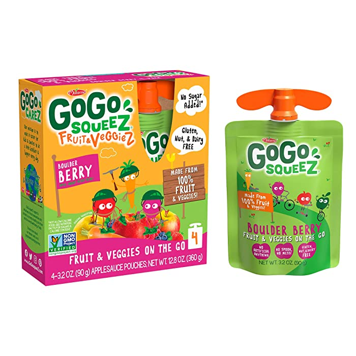 GoGo squeeZ Fruit & VeggieZ on the Go, Apple Carrot Mixed Berry, 3.2 Ounce (48 Pouches), Gluten Free, Vegan Friendly, Unsweetened, Recloseable, BPA Free Pouches (Packaging May Vary)