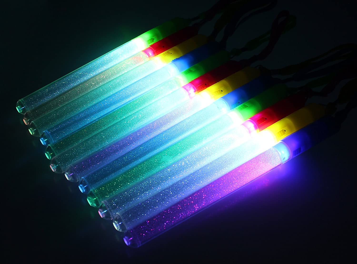 24 Pack of Colorful Flashing LED Clear Light Up Toy Wand Stick for Parties Events Functions Celebrations