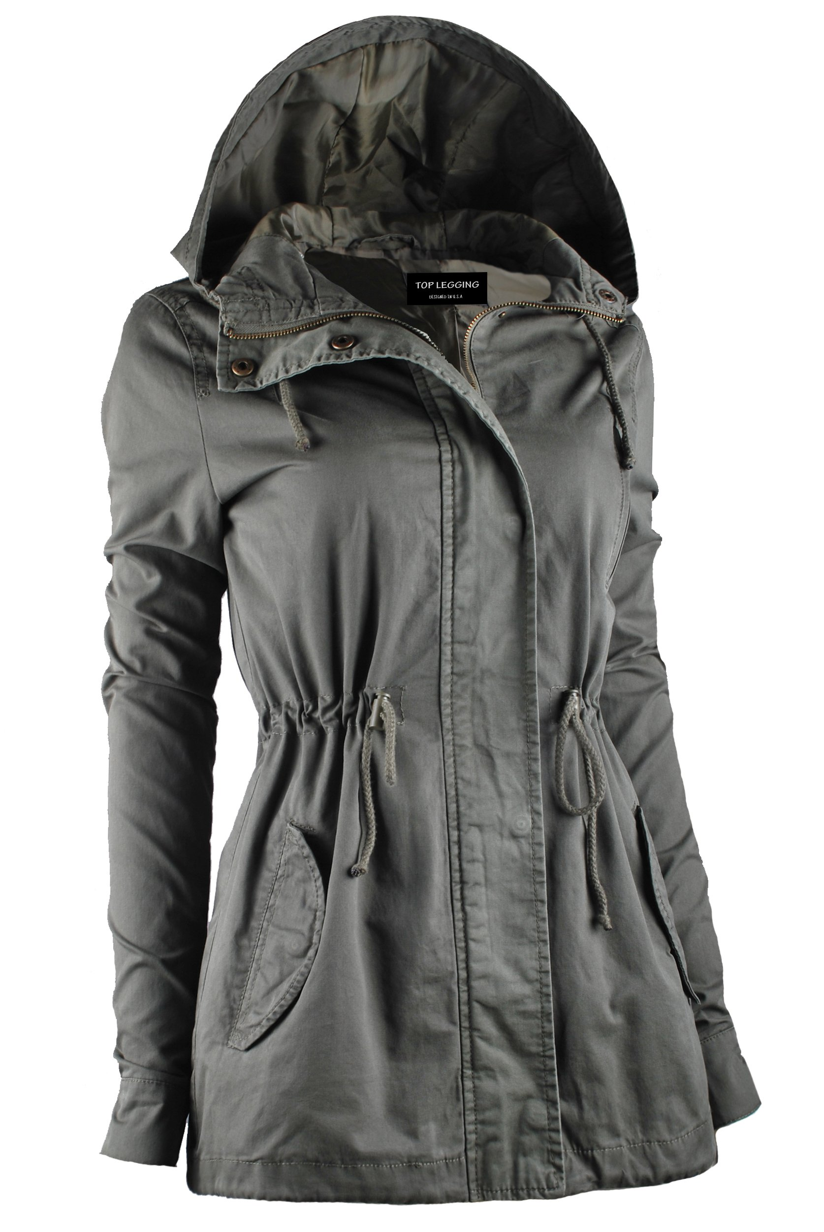 TL Women's Utility Militray Anorak Drawtring Parka Hoodie Jackets with Pocket_OLIVE 2XL