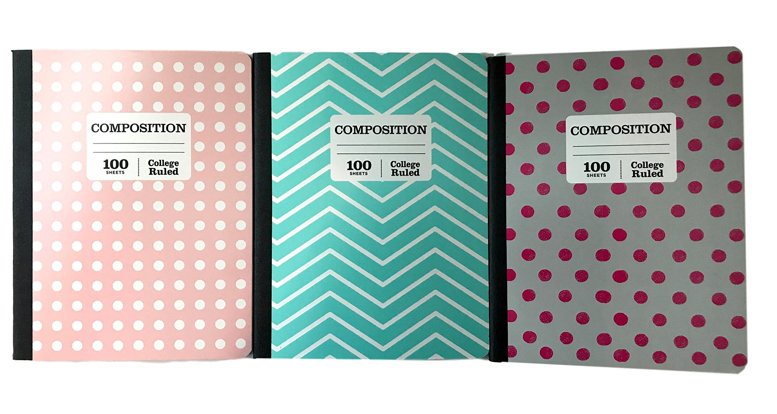 Norcom College Ruled Composition Book 3 Pack - Dots and Chevrons