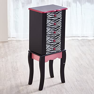 Teamson Kids Zebra Armario de Cofre, Madera, Negro, 30.99x24.51x74.30 cm: Hogar