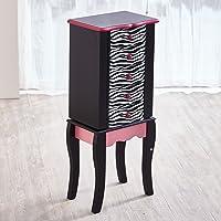 Fashion Prints Teamson Kids Jewelry Chest Armoire-Zebra (Pink/Black), Wood, 30.99 x 24.51 x 74.3 cm