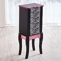 Fashion Prints Teamson Zebra Kids Jewellery Chest Armoire, Wood, Black