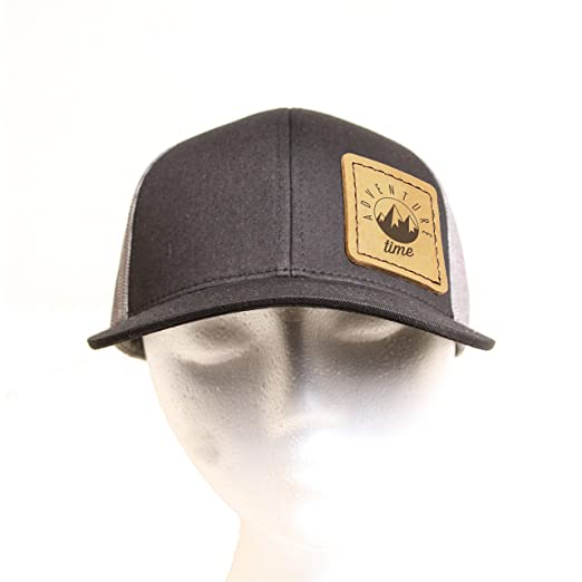 Adventure Time Leather Square Patch on a Trucker Hat - placed on ... 04ab347afed2