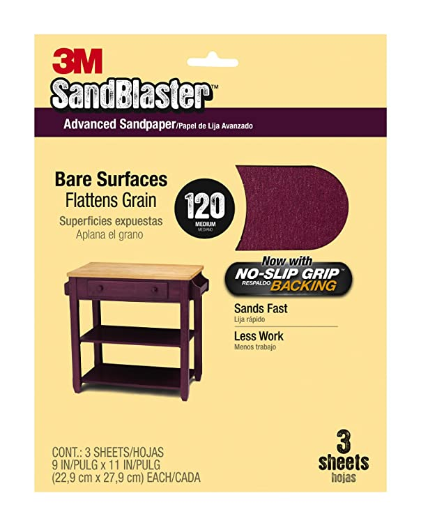 3M SandBlaster Bare Surfaces Sandpaper, 120-Grit, 9-Inch by 11-Inch