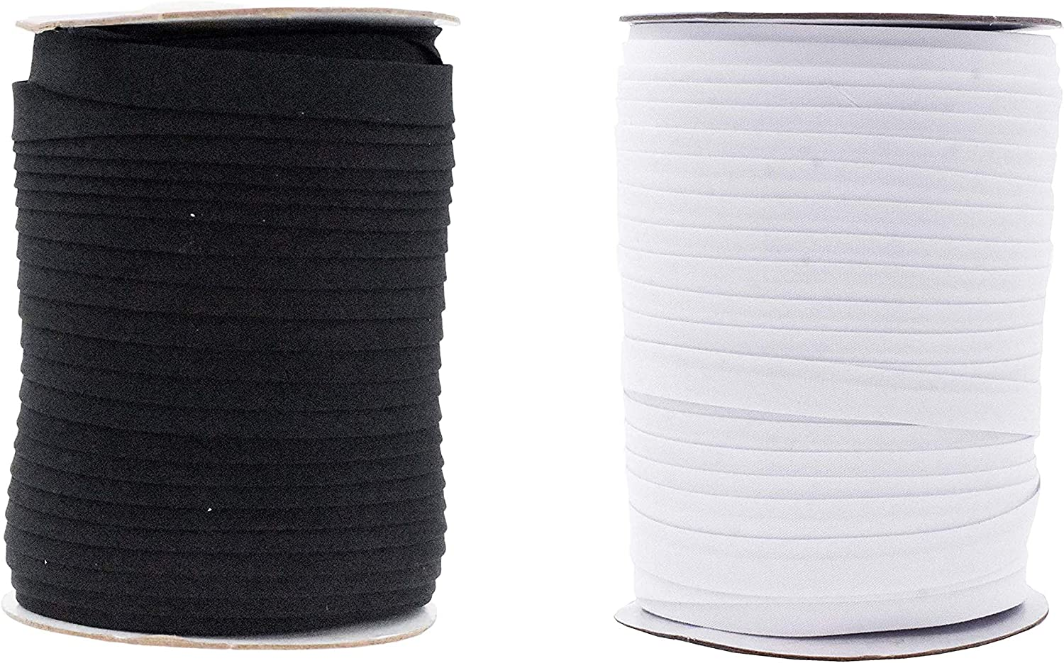 Double Fold Bias Tape for Sewing, Seaming, Binding, Hemming, Piping, Quilting, 1/2 Inch Black White; by Mandala Crafts
