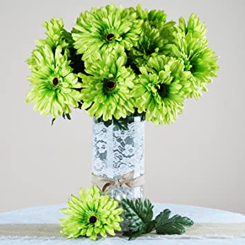 Amazon balsacircle 28 lime green silk gerbera daisy flowers 4 balsacircle 28 lime green silk gerbera daisy flowers 4 bushes artificial flowers wedding party mightylinksfo Images