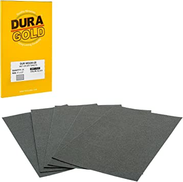 Color Sanding and Polishing for Automotive and Woodworking Premium 220 Grit Professional Cut to 5-1//2 x 9 Sheets Box of 25 Sandpaper Finishing Sheets Wet or Dry Dura-Gold