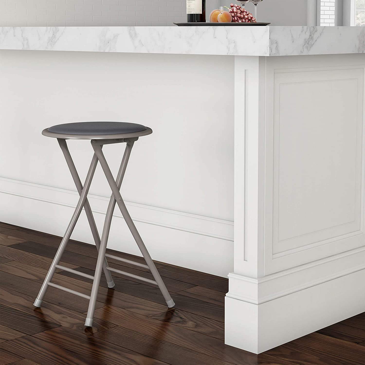 Trademark Home 82-0827-GY Folding Heavy Duty 24-Inch Collapsible Padded Round Stool, Gray