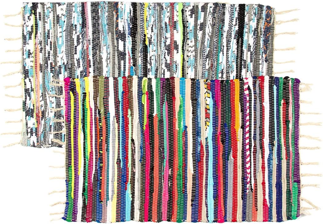 Royal Collection 2 Pack Chindi Doorway Rag Rug Set 20 x 32 Multi-Color Recycled Cotton Woven Entryway Rug