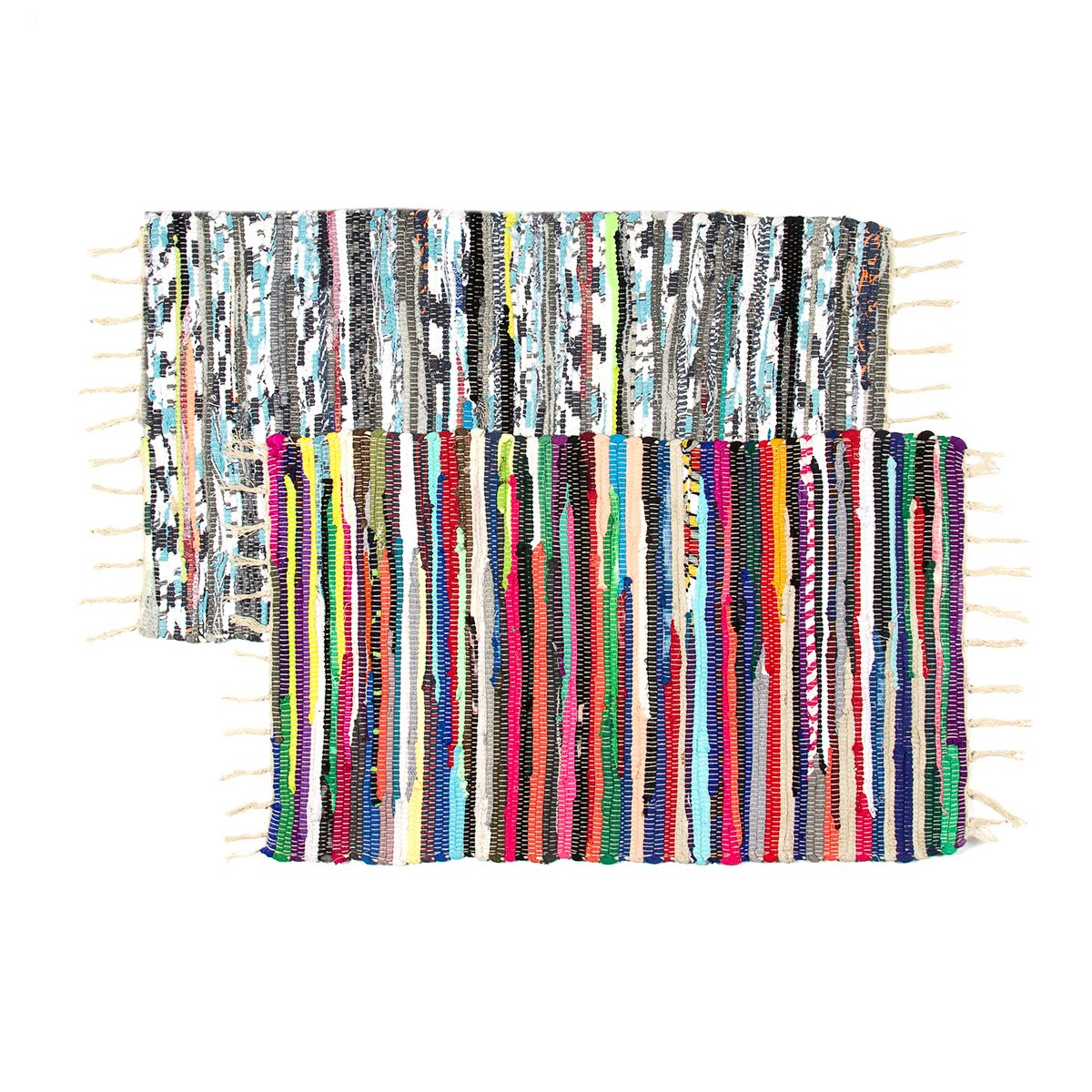 Royal Collection (2 Pack) Chindi Doorway Rag Rug Set 20 x 32 Multi-Color Recycled Cotton Woven Entryway Rug