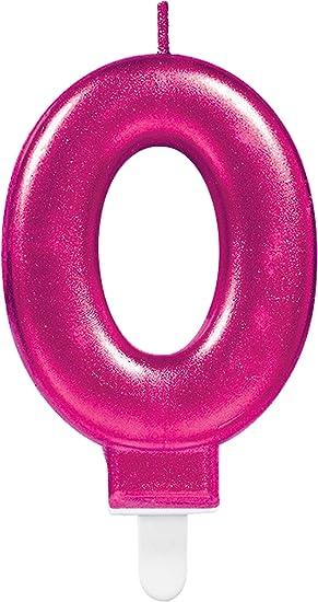 CARPETA® Número Vela * Número 0 * en rosa con ranuras ...