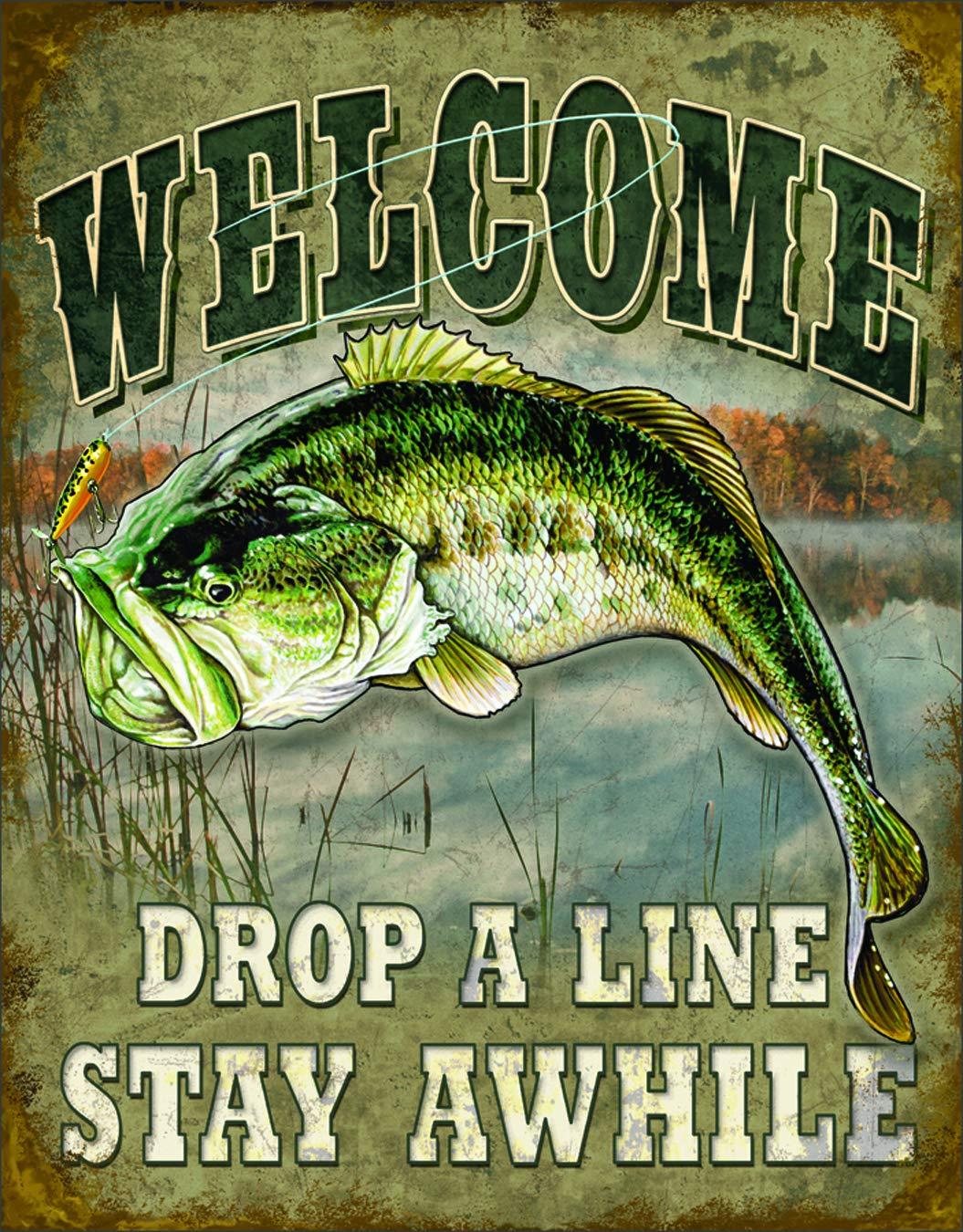 "Desperate Enterprises Welcome Bass Fishing Tin Sign, 12.5"" W x 16"" H"