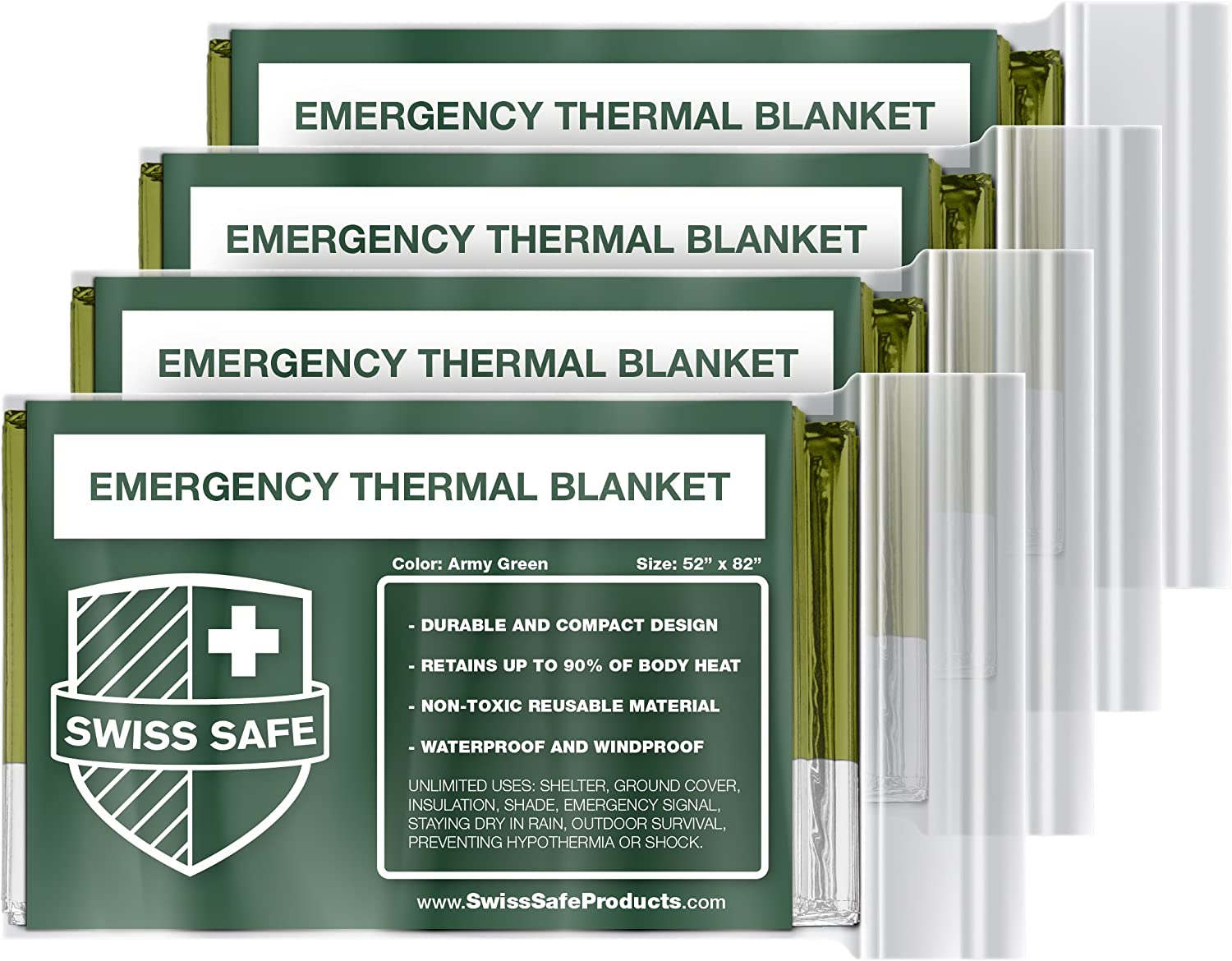 Emergency Mylar Thermal Blankets 4 Pack Bonus Signature GOLD Foil Space Silver
