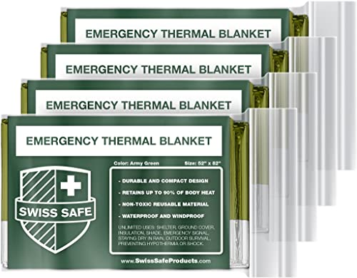 Swiss Safe Emergency Mylar Thermal Blankets 4-Pack Bonus Signature Gold Foil Space Blanket Designed for NASA, Outdoors, Hiking, Survival, Marathons or First Aid