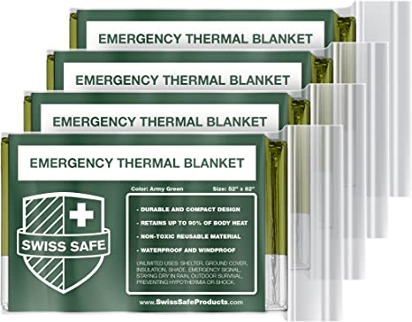 Mylar Thermal Reflective Blankets Pack of 4 Emergency Blankets First Aid Blankets Military Survival Blankets