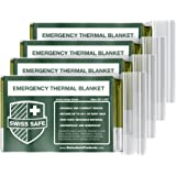 Swiss Safe Emergency Mylar Thermal Blankets (4-Pack) + Bonus Signature Gold Foil Space Blanket: Designed for NASA…