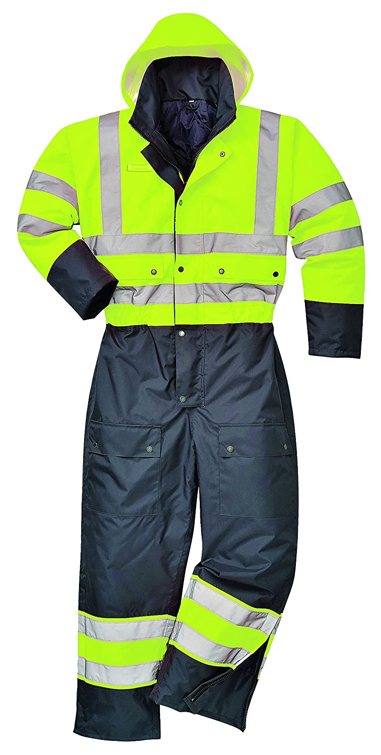 HI VIS Coverall Lined Hooded Overall Boilersuit Safety Workwear S - 3XL S485 oxS485