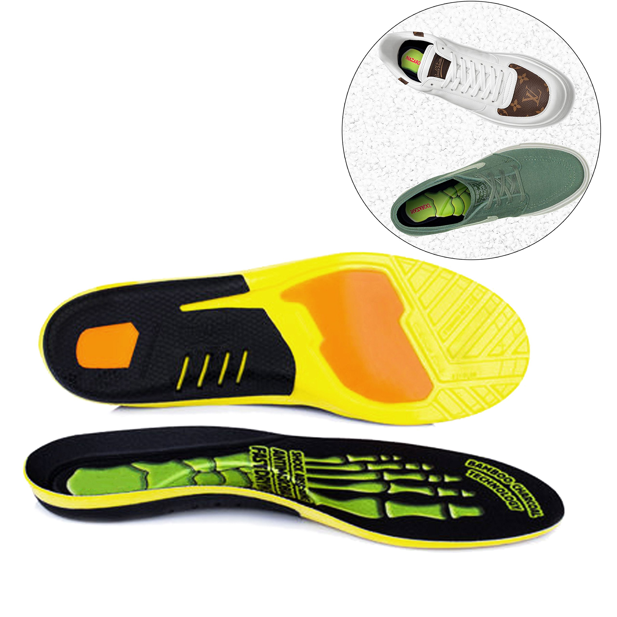 Shoe Insoles Comfort Thin Lightweight Cushioning Orthotic Insoles Memory Foam Insoles Anti-Fatigue Technology Professional-Grade Foot Support (Women 8-9.5, Men 7-8.5)